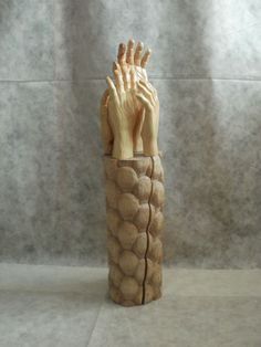 Arolla #pine, #maple woods #sculpture by #sculptor Luigi Bartolini titled: 'Need working Arms, come people (Carved Hands statue)'. #LuigiBartolini