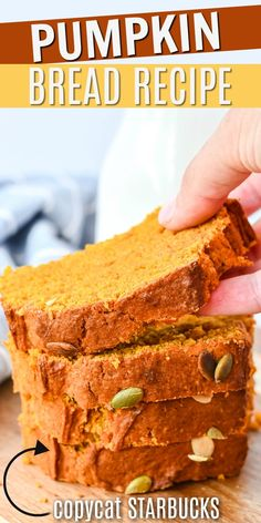 A copycat Starbucks Pumpkin Bread recipe you can make at home! This moist Pumpkin Bread topped with pumpkin seeds tastes like a slice of autumn heaven, and it's so easy to make at home! Starbucks Pumpkin Bread, Pumpkin Loaf, Pumpkin Pie Mix, Moist Pumpkin Bread, Homemade Pumpkin Puree, Banana Nut Bread, Baked Pumpkin, Pumpkin Dessert, Banana Bread Recipes