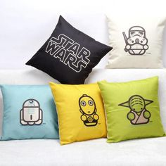 2017 Hot Sale Cartoon Star Wars Linen Throw Pillow Case For Office/bedroom/chair Seat Cushion 45*45 Cm Free Shipping #Affiliate