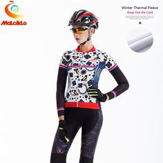 Malciklo Winter Thermal  Cycling Suit Clothing Racing MTB Maillot Racing Bike Women Clothing Ropa Ciclismo Cycling Jersey Set