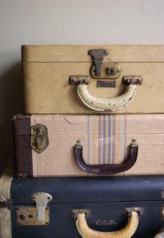 Vintage travel train cases-Asher big boy room