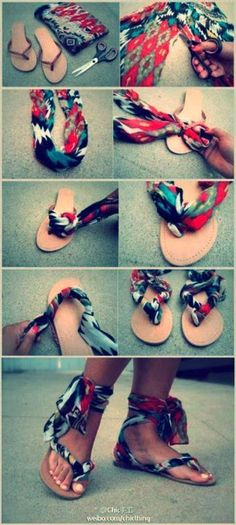 Transform old flip flops by wrapping an old scarf around them