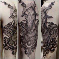 Tarot Baphomet tattoo by Anderson Luna.