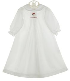 NEW Bailey Boys White Batiste Smocked Daygown with Santa Embroidery for Baby Girls $50.00