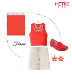 Brighten up your Sunday brunch look with this vibrant pick of Pantone – FLAME. You can incorporate this colour in your closet in multiple forms. Crop-top, accessories, shoes! You name it and flame will slide in comfortably.