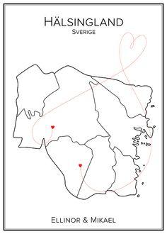 Kärlekskarta. Hälsingland. Sverige. Map. City print. Print. Affisch. Tavla. Tryck. Stadskarta. Tattoo Ideas, Tattoos, Tatuajes, Tattoo, Tattos, Tattoo Designs