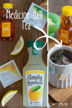 Starbucks copycat recipe for Medicine Ball tea is so simple to make. The combination of Jade Citrus Mint and Peach Tranquility teas plus a few other special ingredients, makes a soothing hot tea drink… Fun Drinks, Yummy Drinks, Healthy Drinks, Yummy Food, Healthy Recipes, Healthy Food, Tasty, Drinks Alcohol, Alcoholic Drinks