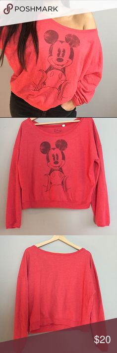 Mickey Mouse Red off the shoulder pullover OMG! Size Large. Off the shoulder style. Red Disney pullover that's is so classic yet so unique! My favorite piece to wear to the happiest place on earth!!!! Sad to part with it but I need room in my closet! ❤️ Disney Tops Sweatshirts & Hoodies