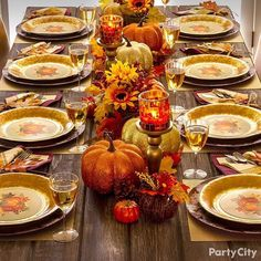 Set the tone for autumn with Thanksgiving table décor only from Party City.