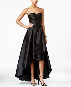 Adrianna Papell Belted High-Low Strapless Dress - Dresses - Women - Macy's