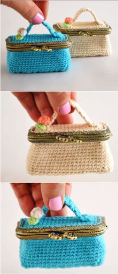 Crochet Mini suitcase bag by carole Crochet Coin Purse, Knit Or Crochet, Crochet Gifts, Cute Crochet, Ravelry Crochet, Knitting Patterns, Hat Patterns, Crochet Ideas, Crochet Dolls