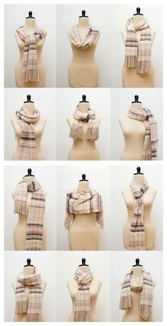 Good idea since Im always fussing with my scarf collection....38 Trendy Ways to Tie A Scarf! (Who knew you could do 38 different things with a scarf?)