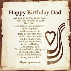 Happy Birthday Dad Quotes And Sayings Pictures