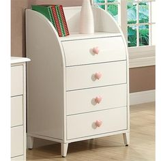 Juliette Chest Sandy Yellow Four Drawer Chest Pink heart shaped knobs