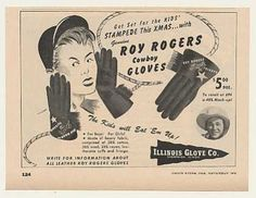 Roy Rogers Cowboy Gloves Illinois Glove Trade (1948)