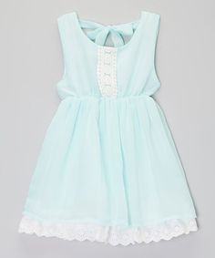 Another great find on #zulily! Aqua & White Crochet Overlay Dress - Toddler & Girls by Little Miss Fairytale #zulilyfinds