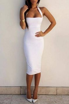White Halter Sleeveless Midi Dress - US$11.95 -YOINS