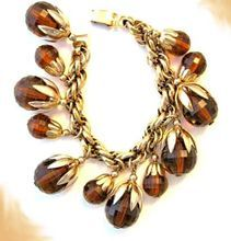Napier Chunky Gold Tone-Charm Bracelet with Lucite Spheres