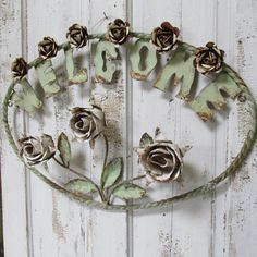 Large metal welcome sign shabby cottage hand cut toleware style roses rusty wall hanging home decor anita spero