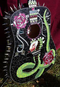 Glass mosaic custom guitar Snakesskullsand by BellasArtMosaics, $1600.00