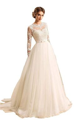 5a9ceebdb6 Angelstormy Women s Long Sleeves Jewel Bow Sash Open Back Lace-up Beach Bridal  Dress Review