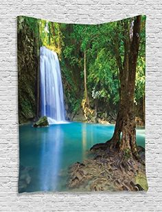 Ambesonne Woodland Decor Collection Waterfall Asia Thailand Jungle Tropical Plants Trees Tourist Attraction Image Pattern Bedroom Living Room Dorm Wall Hanging Tapestry Aqua Green * Be sure to check out this awesome product.