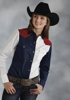 Roper® Womens Red, White & Blue Colorblocked Long Sleeve Snap Cowgirl Shirt