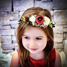 Christmas flower crown Christmas headband baby headband