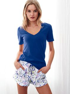 Shop sleepwear for women and choose from styles in silk, flannel, cotton and more! Get the perfect pajamas to fit any mood, from soft and cozy to sexy silk now at Victoria's Secret. Boho Shorts, Casual Shorts, Casual Outfits, Casual Clothes, Sleepwear Women, Pajamas Women, Victoria Secret Pajamas, Silk Pajamas, Nightwear