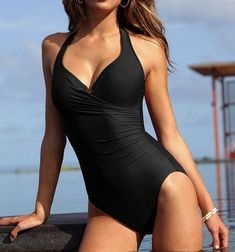 Women One Piece Swimsuit Push Up Bathing Suits Tankini Sexy One Piece Swim Suits Deep Neck Tankini, Ropa Interior Boxers, Girl Sday, Fashion Mode, Trendy Fashion, Vintage Fashion, One Piece Swimwear, Black One Piece Swimsuit, Womens Fashion Online