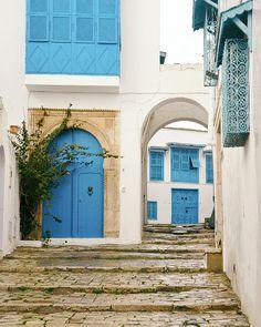 Mediterranean Village, Travel Photography, Blue Door, Blue Windows, Tunisia, Tunis, Fine Art Print, sea blue, white, home decor, wall art