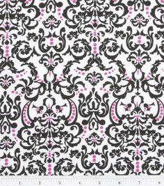 Keepsake Calico Fabric- Chic Bebe Ornate Baroque White/Pink/Black: keepsake calico fabric: quilting fabric & kits: fabric: Shop | Joann.com