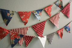 Fourth of July Pennant Banner Bunting Combo by cocosailore on Etsy, $30.00
