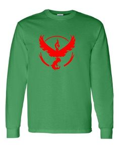 Pokemon Go Gym Team Valor Red Youth Long Sleeve Tee T-Shirt Green X Small, Boy's, Size: XS