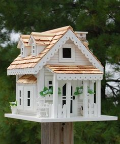 Home Bazaar Gull Cottage Bird House, White at BestNest.com