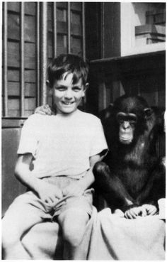1951 Roger(Syd) with chimp at Whipsnade Zoo