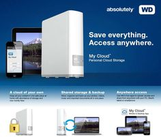 WD My Cloud 4TB Personal Cloud Storage - NAS, Gigabit Interface, with USB 3.0 Expansion Port - WDBCTL0040HWT-NESN