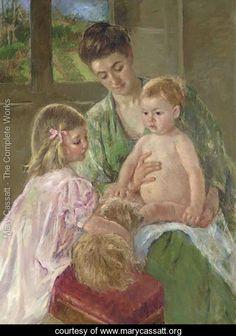 Children Playing with a Dog - Mary Cassatt