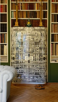 Fornasetti cabinet at the Fornasetti residence