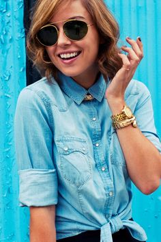 Jean shirt, Black Skirt, Gold Necklace