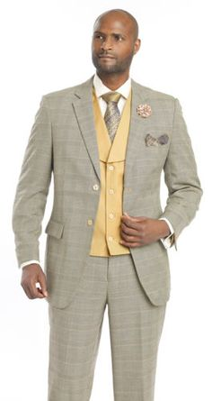 New-1920-Taupe-Grey-3-Piece-Mens-Dress-Plaid-Suit-M2691-EJ-Samuel-Yellow-Vest