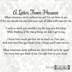 Grandma Quotes Discover A Letter From Heaven Poem - Bereavement Mourning Grief Sympathy Funeral (Svg Pdf Png Digital File Vector Graphic) Heaven Poems, Heaven Quotes, Quotes About Heaven, Best Friend Poems, Grief Poems, Quotes About Grief, Mom Poems, Grandma Quotes, Poems About Mothers