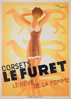 1933 Corsets Furet French vintage advert poster