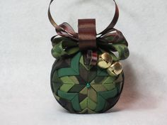 Camouflage Quilted Christmas Ornament  no sew by KCFabricOrnaments