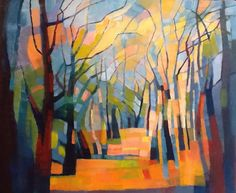 Woodland Path by Alison Newman Landscape Art, Landscape Paintings, Landscapes, Abstract Tree Painting, Scenery Paintings, Anime Comics, Tree Art, Watercolor Art, Cool Art
