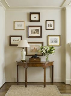 Here's a pretty wall grouping - ideal for the end of a hallway (it'll pull you in), or within a niche in your home. It offers nice balance and symmetry, while the neutral frame designs make it super versatile.