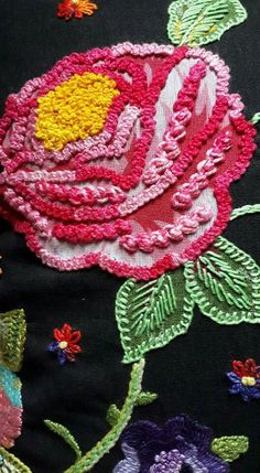 Wonderful Ribbon Embroidery Flowers by Hand Ideas. Enchanting Ribbon Embroidery Flowers by Hand Ideas. Embroidery Monogram, Shirt Embroidery, Rose Embroidery, Silk Ribbon Embroidery, Modern Embroidery, Hand Embroidery Designs, Embroidery Stitches, Embroidery Patterns, Machine Embroidery