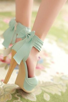 Mint Bow Back Heels ♥