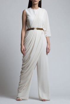 Items similar to Stylish Indian Designer Lovely Party Wear Draped Jumpsuit For Women Top New Ethnic Indian dress Collection on Etsy Farewell Dresses, Stylish Tops For Women, Women's Fashion Leggings, Party Wear Dresses, The Dress, Jumpsuits For Women, Curvy Fashion, Indian Outfits, Latest Fashion For Women