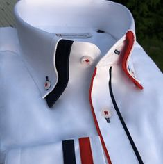 cotton, button down collar, single button collar, Black Red double collar and fabric trim on cuffs and placket. Double Collar Shirt, High Collar Shirts, Shirt Collar Styles, Smart Casual Shirts, Formal Shirts For Men, African Men Fashion, Ankara Fashion, Africa Fashion, African Women